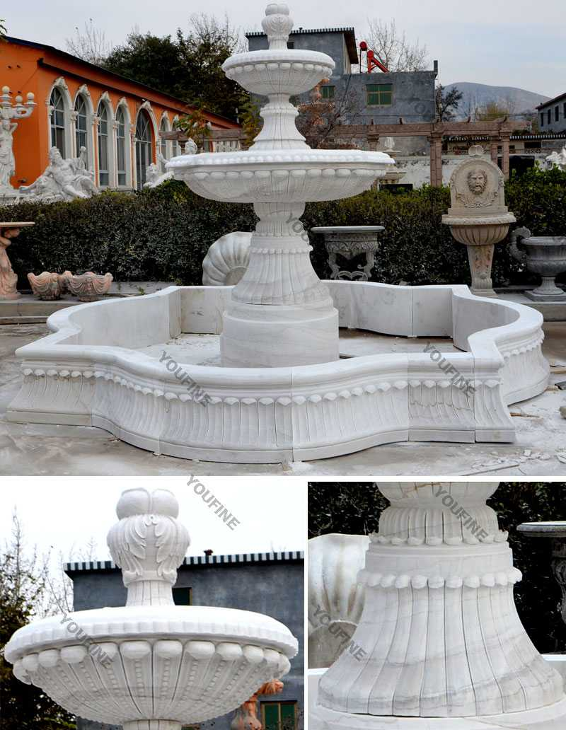 Outdoor pure white marble garden fountain small 2 tiered water fountain for backyard decor for sale