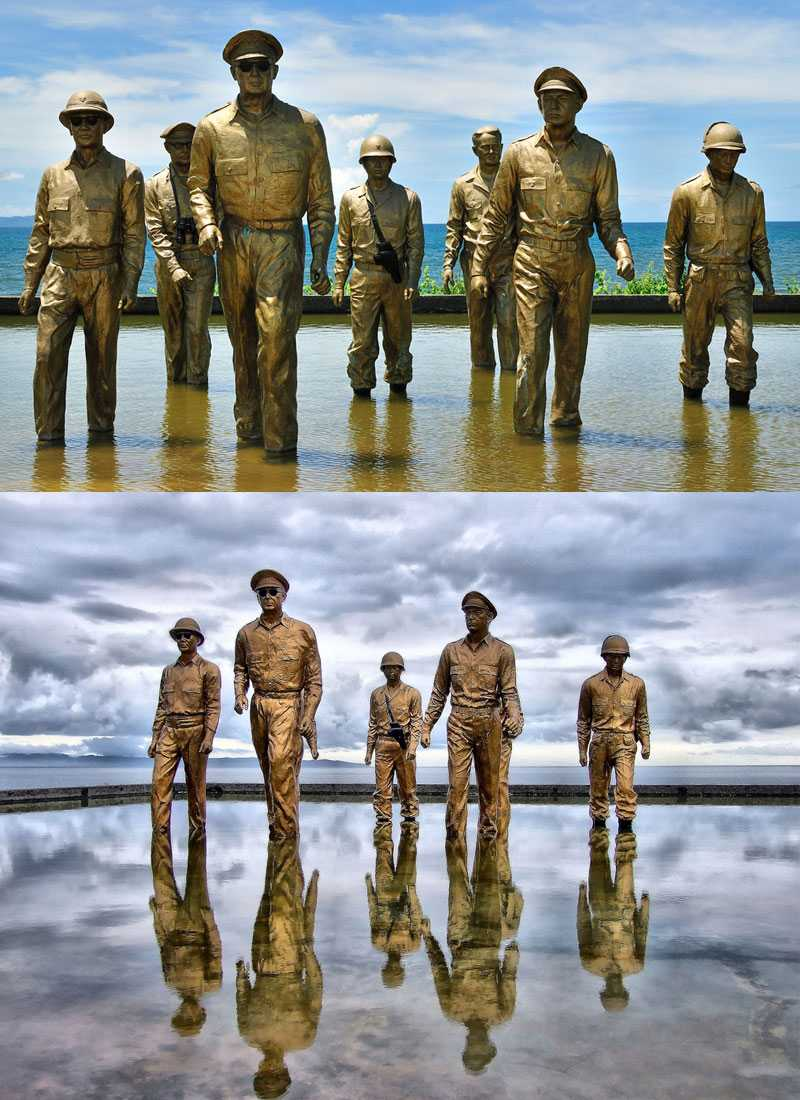 The MacArthur Landing Memorial Park with seven famous bronze sculpture
