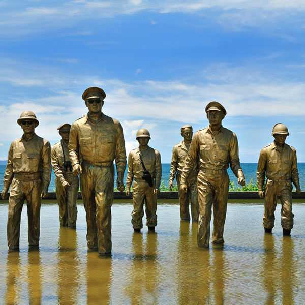 The large famous sculpture MacArthur Landing Memorial Park with seven famous bronze sculptures–BOKK-484