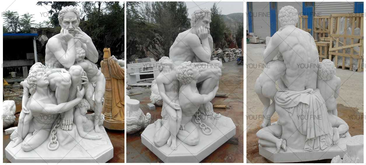 White marble carved Ugolino and his sons for sale