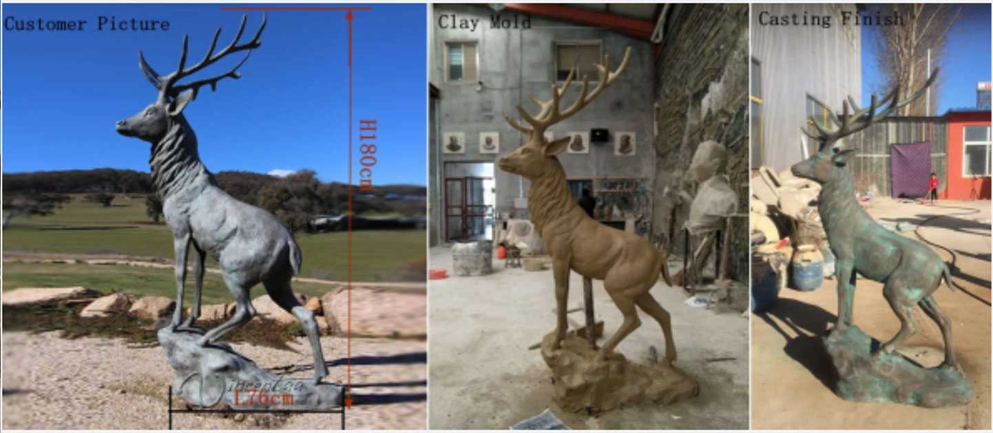 antique brass stag statue for sale