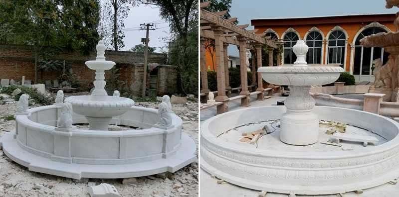 backyard tiered water fountain with lion statue design for sale