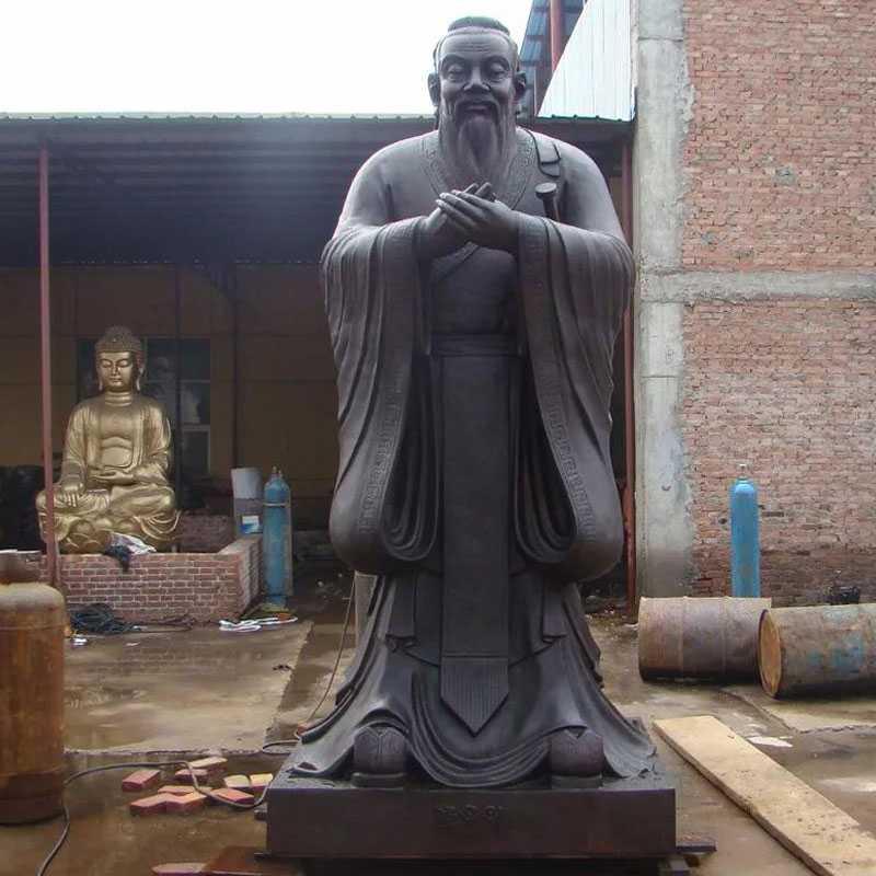 bronze Confucius statue on stock