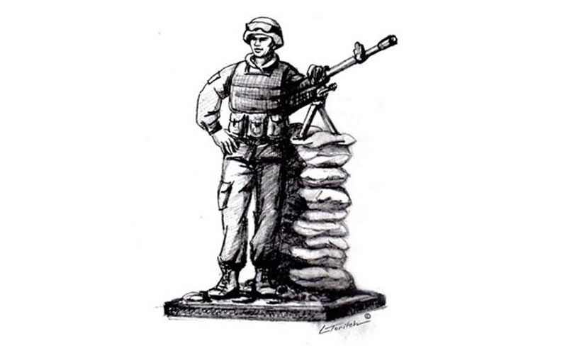 bronze sculpture soldier sketch for sale