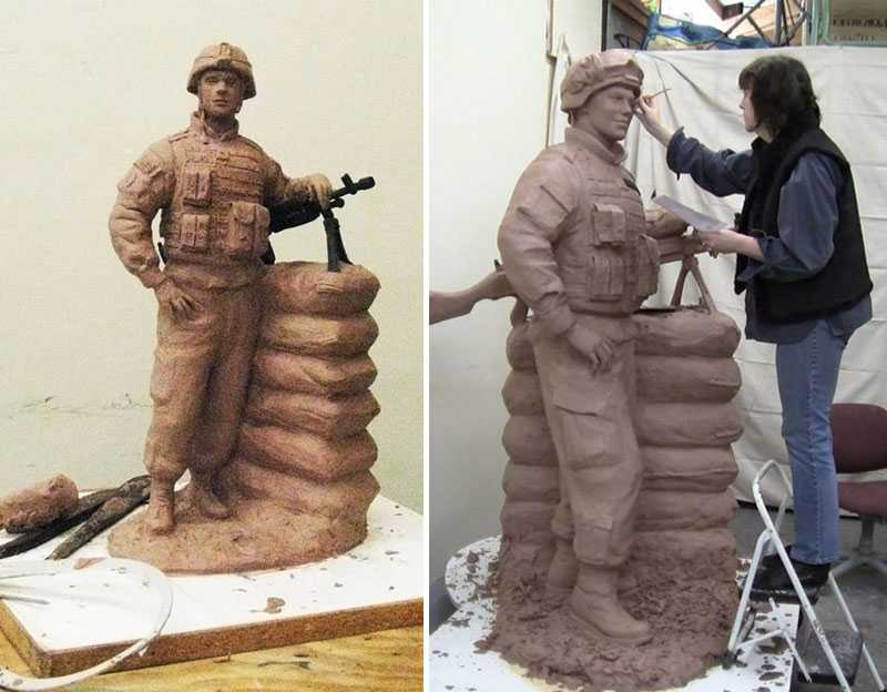 clay mold of bronze soldier sculpture for sale