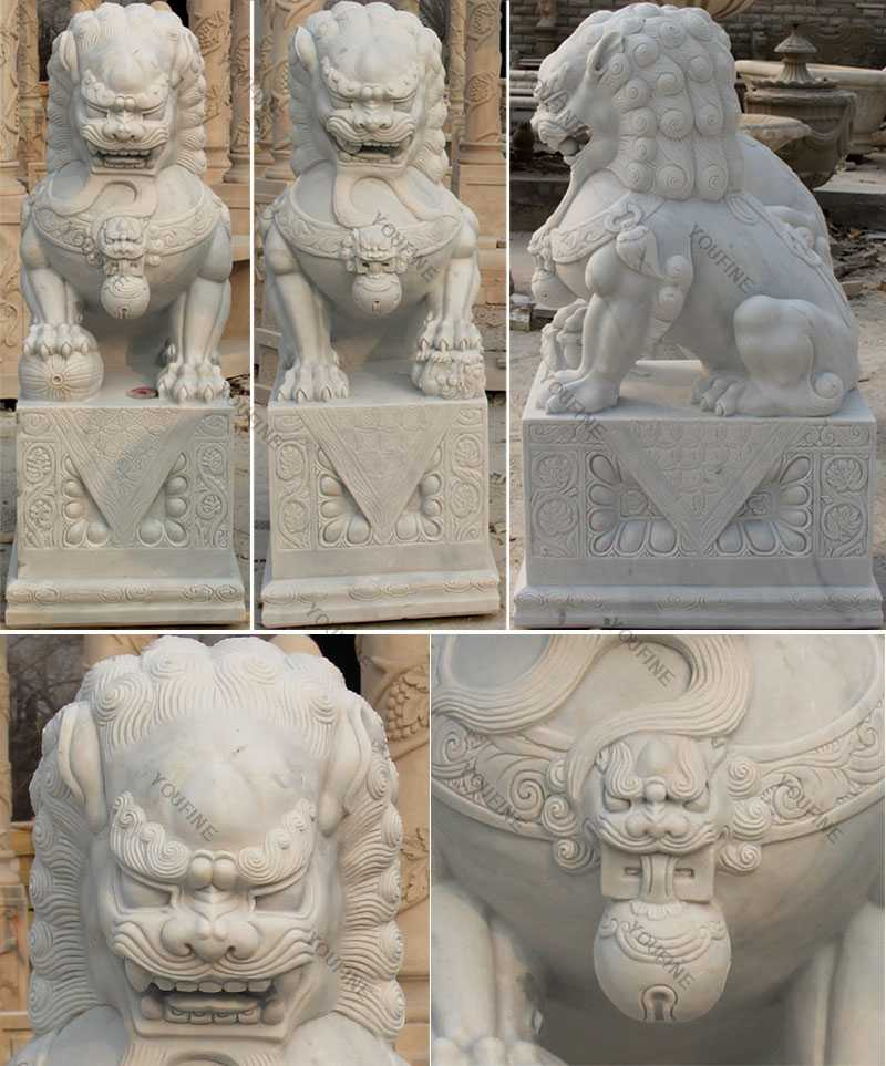 detail of the Pair of Chinese Foo or Fu Dog statue