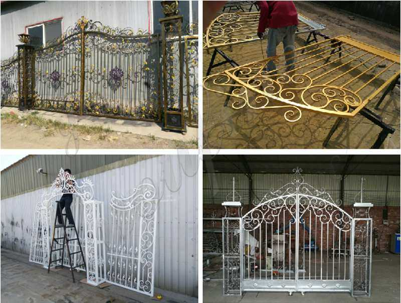 double driveway front entry wrought iron gate designs