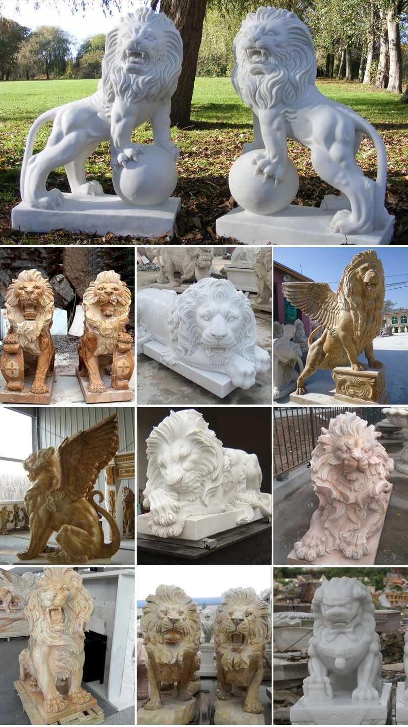 entrance marble lion statues for sale