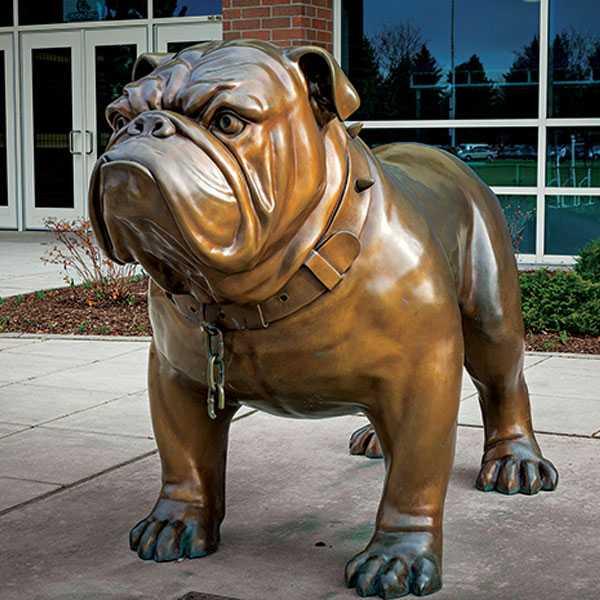 large antique bronze bulldog statue modern garden dog sculpture outside for sale BOKK-541