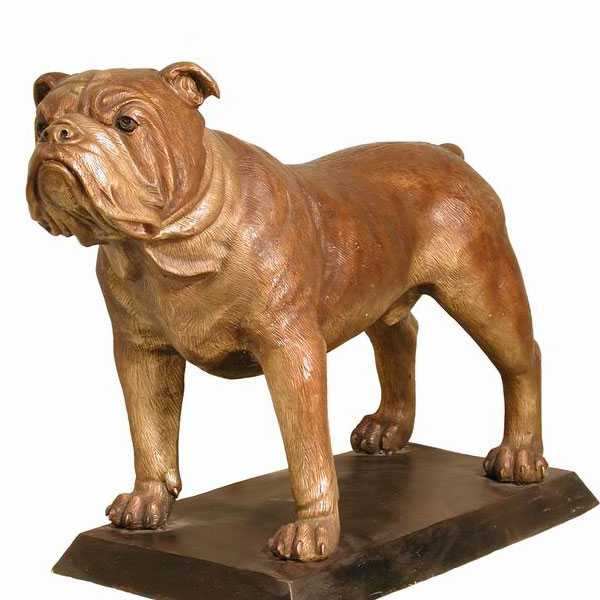 large antique bronze bulldog statue modern garden dog sculptures outside for sale BOKK-541
