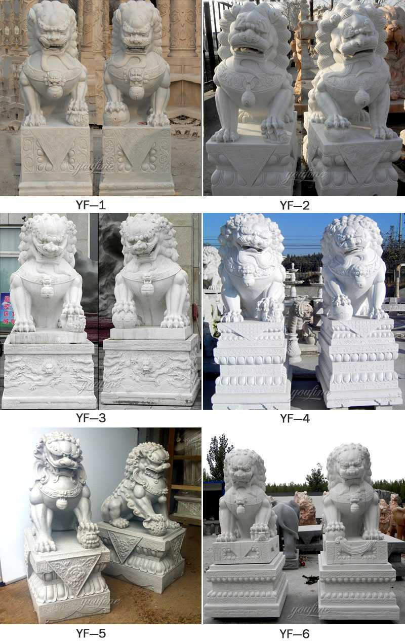life size marble Chinese Fu or Foo dog statues for sale