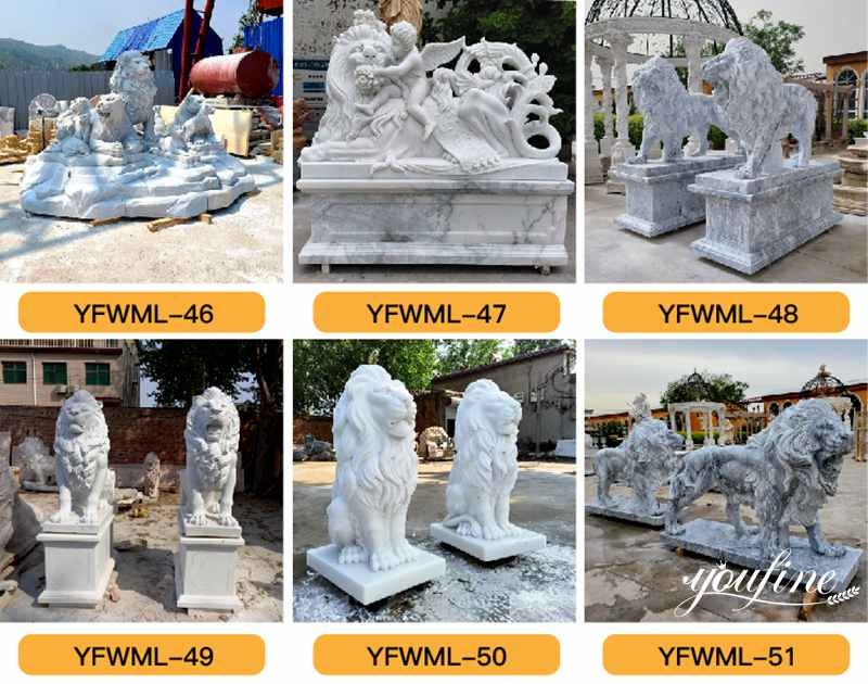 marble family lion statue for sale