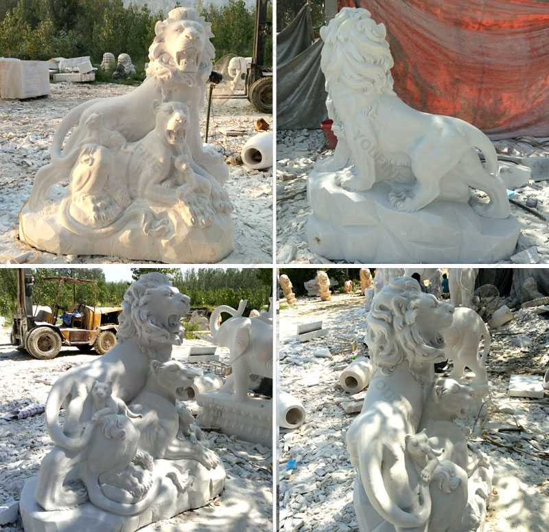 marble guardian-lion-statue-lion-family-at-Entrance-for-yard