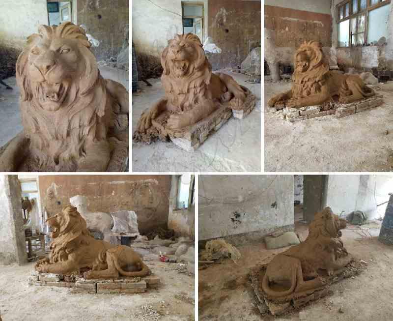 outdoor casting bronze lion statues