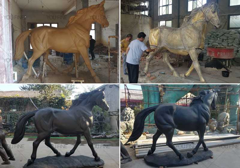 standing-bronze-black-horse-statue for sale