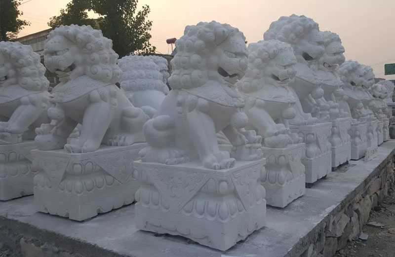 white marble lion statue for entrance on stock