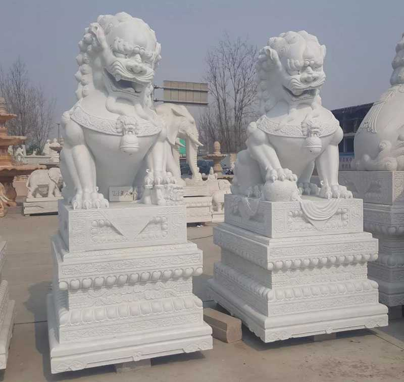 white marble paired chinese guardian lion statue for sale