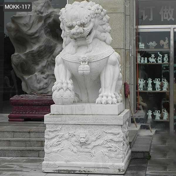 Life Size Garden Statue Chinese Guardian Lions Stone Art Marble Foo Dog Statues