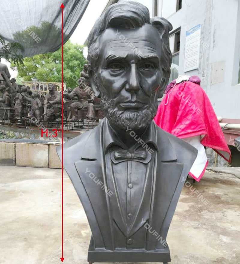 Abraham Lincoln Replica of Bronze Bust Statue Decorative Bust Sculptures for Home Decor