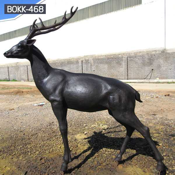 Animal Statue Life Size Deer Statue Black Antique Bronze Deer Statue For Garden Lawn Decoration For Sale–BOKK-468