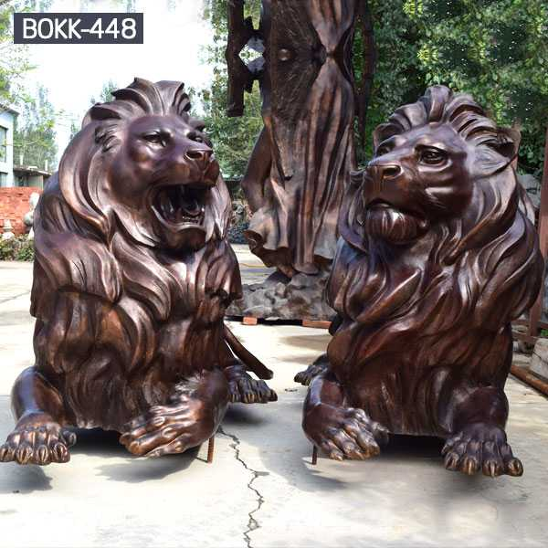 Buy Life Size Guardian Lion Statue Pair Of Bronze Lying Lion Statue For Front Porch Decor And Home Door For Sale–BOKK-448