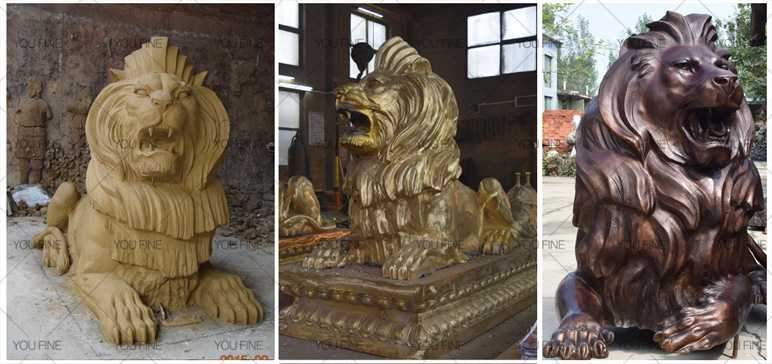 Buy life size guardian lion statue pair of bronze lying lion statue for front porch decor and home door for sale
