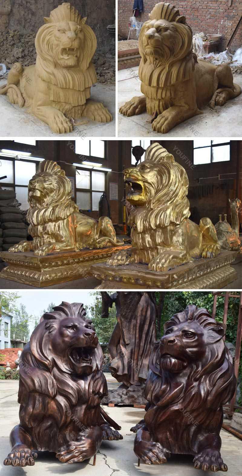 Buy life size guardian lion statue pair of bronze lying lion statue for front porch decor for sale