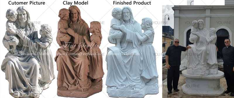 Catholic statue Famous marble Jesus holding children statue