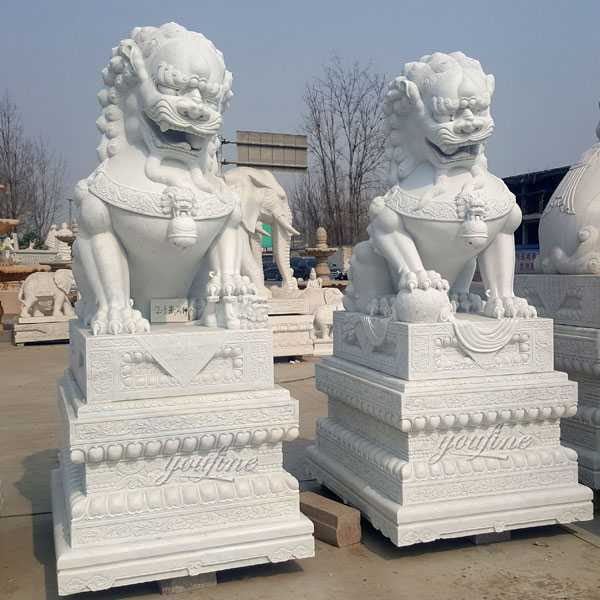 Chinese guardian lion white marble foo dog statues for sale life size marble lion statue for driveway--MOKK-114