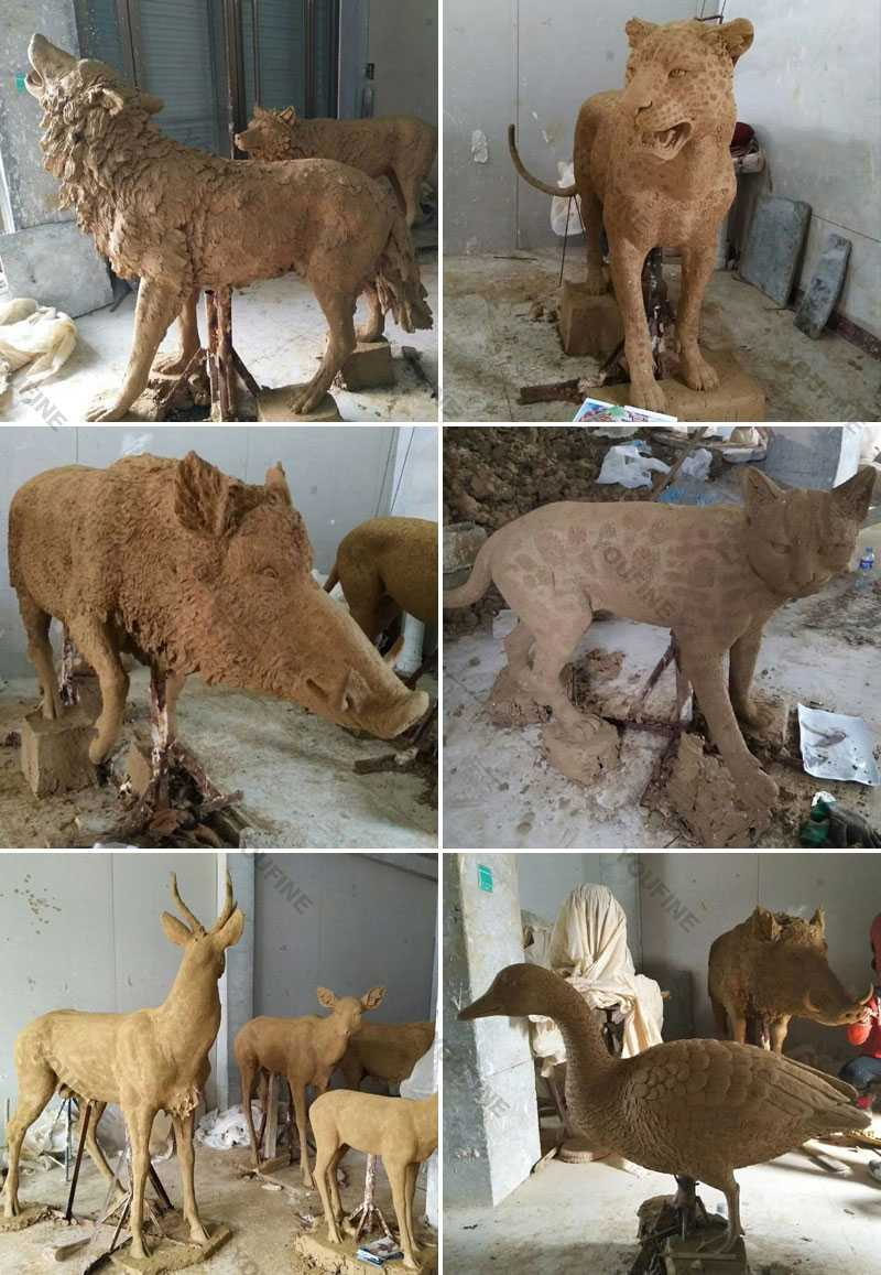 Clay-model-of-wildlife-statues