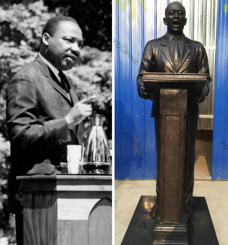 Cusotm made famous bronze statue Martin Luther King on speech replica antique bronze figure statue for sale