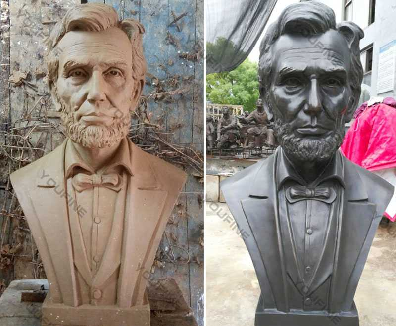 Custom Made Abraham Lincoln Replica of Bronze Bust Statue Decorative Bust Sculptures for Home Decor