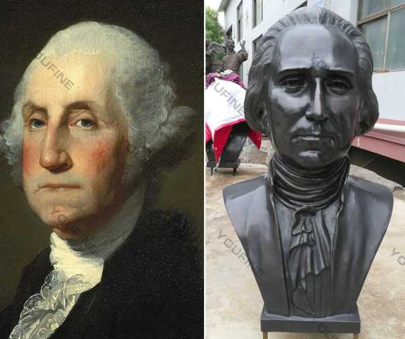 Custom Made Famous Bronze Bust Sculpture of George Washington Life Size Busts for Sale