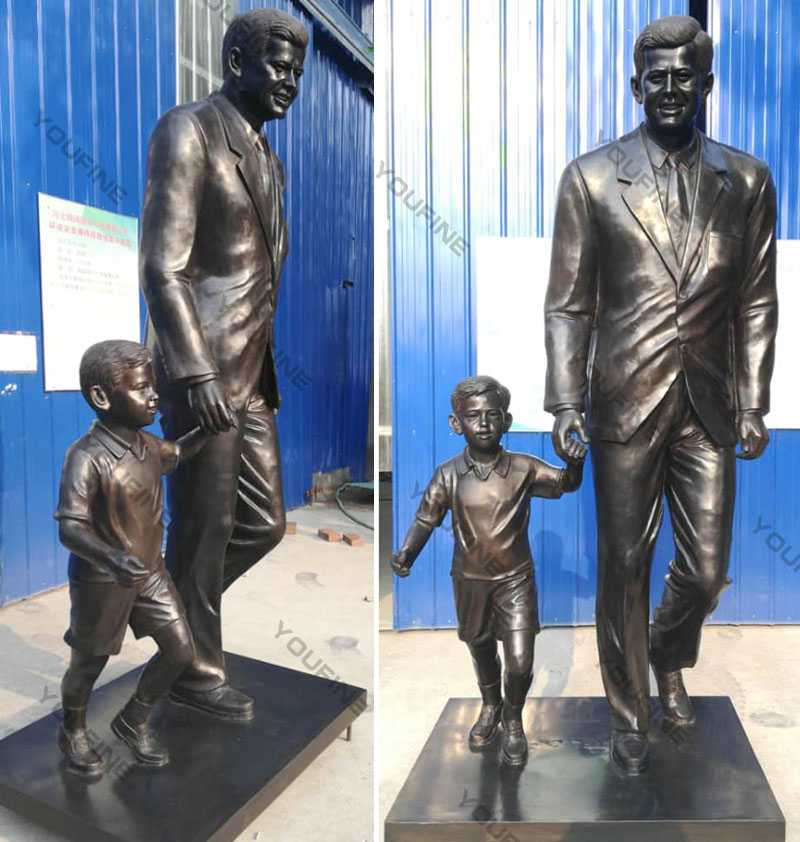 Custom made from photo bronze statue John Fitzgerald Kennedy with child design replica for sale