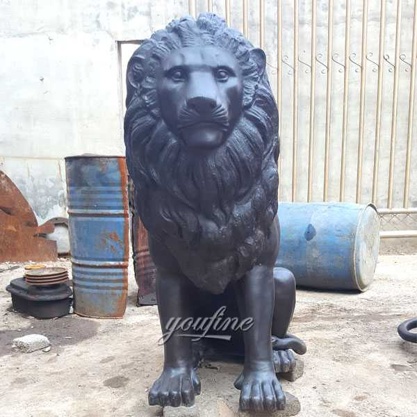 Custom Made Guardian Lion Statue Outdoor Bronze Animal Statue For Sale For Front Porch And Home–BOKK-490