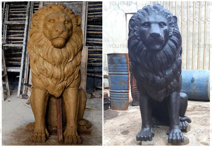 Custom made guardian lion statue outdoor bronze animal statue for sales for front porch and home