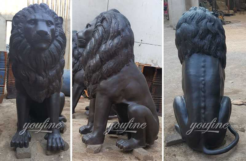 Custom made guardian lion statue outdoor bronze animal statues for sale for front porch and home