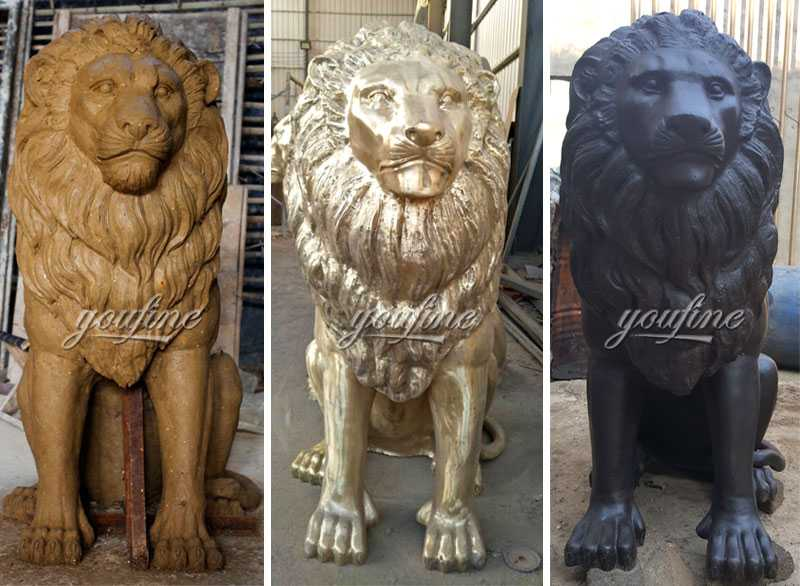 Custom made guardian lion statues outdoor bronze animal statue for sale for front porch and home