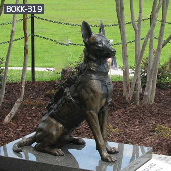 Custom made life size german shepherd statue outdoor bronze garden statue for commemorating for sale--BOKK-319