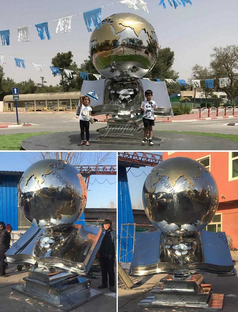 Custom made modern sphere design outdoor stainless steel global for sale