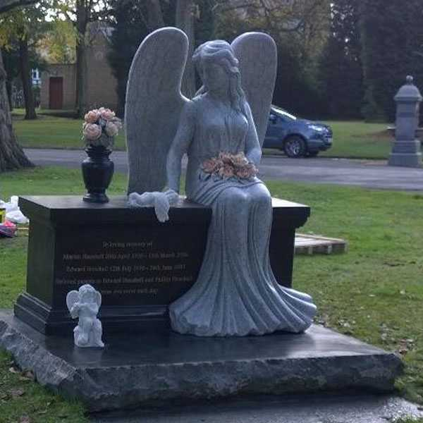 Discount Angel Headstones for Graves Black Large Granite Angel Headstone Designs for Sale MOKK-111