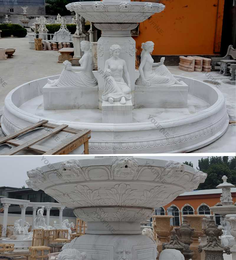 Front yard tired water white marble fountain for our american friends for sale