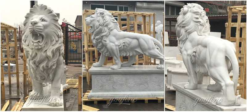 Guardian western stone marble large roaring lion statue for front porch for sale