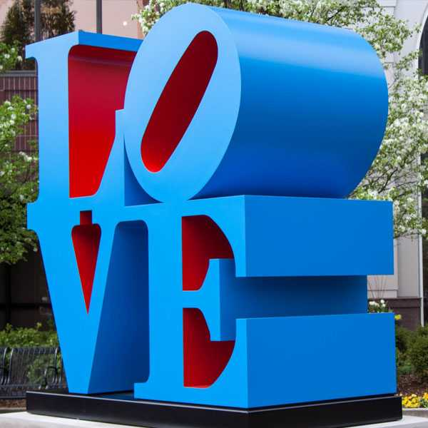 High Polished Philadelphia Love Statue Replica Stainless Steel Blue Love Sculpture for Sale Outdoor Modern Metal Sculpture CSS-44