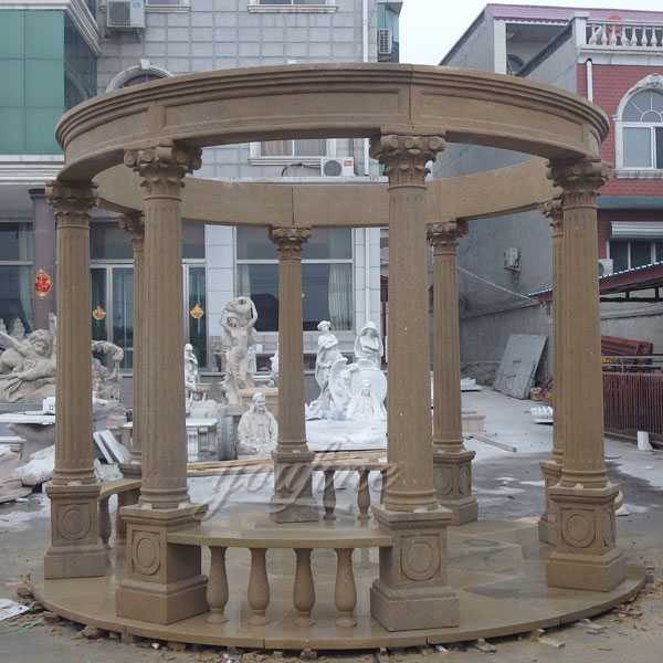 Italian beige marble carved wedding gazebo column with wrought iron dome designs for park or garden decor for sale