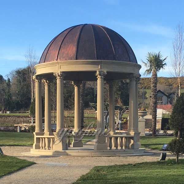 Italian beige marble carved wedding gazebo column with wrought iron dome designs for park or garden decor for sale--MOKK-99