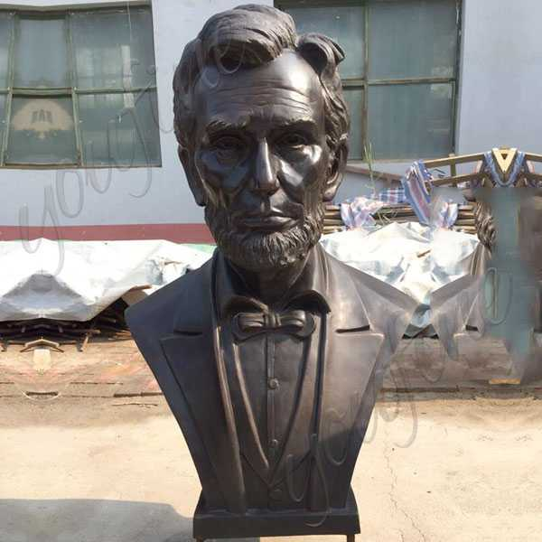Large Custom Made Abraham Lincoln Replica of Bronze Bust Statue Decorative Bust Sculptures for Home Decor--BOKK-513