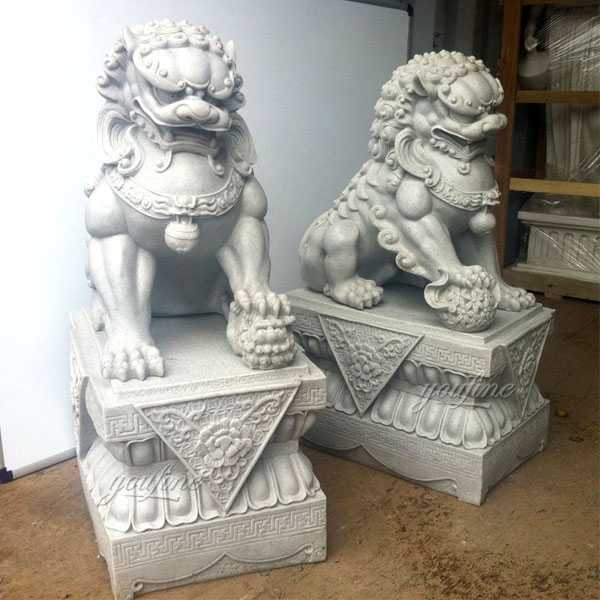 Chinese Guardian Lion White Marble Foo Dog Statues Life