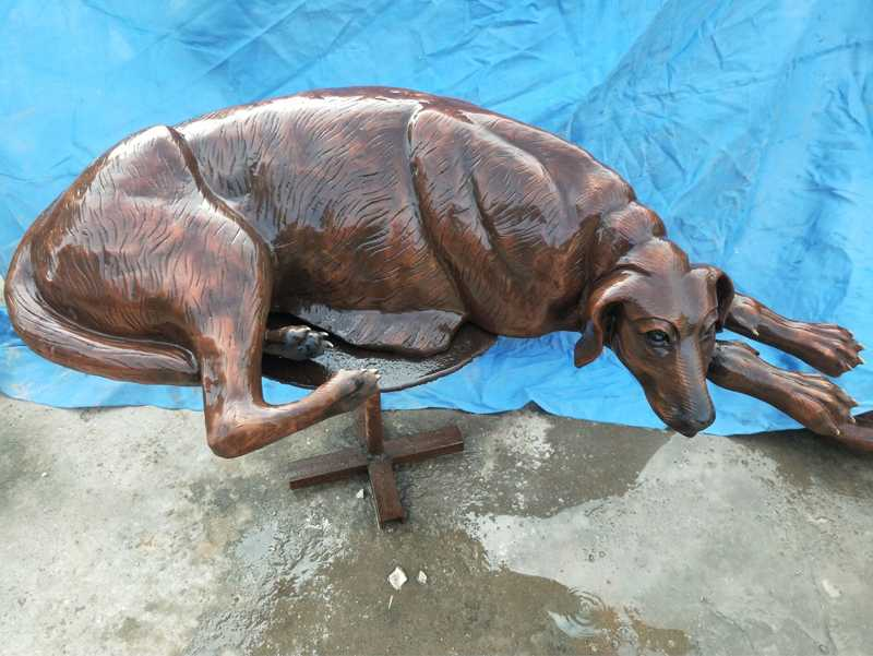 Life Size Antique Bronze Dog Sculpture Lawn Ornament