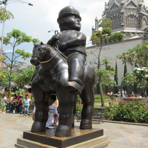 Life Size Contemporary Fat Botero Sculpture Man on a Horse with Bridles Statue at Botero Square Replica for Sale–BOKK-498
